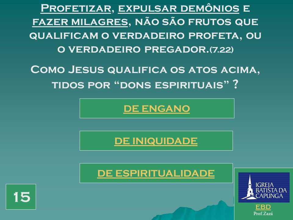 Como Jesus qualifica os atos acima, tidos por dons espirituais