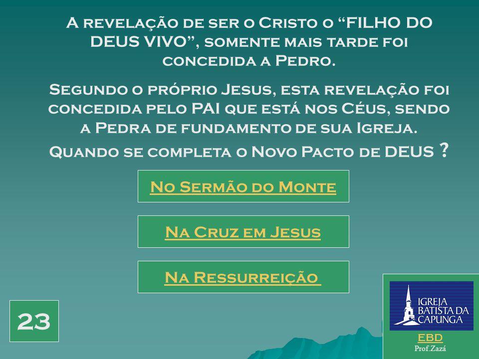 A revelação de ser o Cristo o FILHO DO DEUS VIVO , somente mais tarde foi concedida a Pedro.