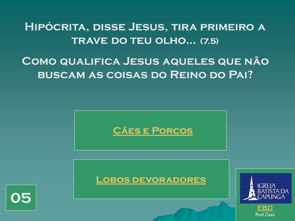 05 Hipócrita, disse Jesus, tira primeiro a trave do teu olho... (7.5)