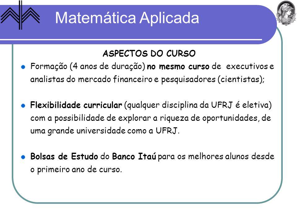 Matemática Aplicada ASPECTOS DO CURSO