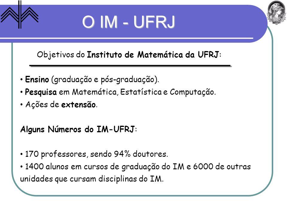 O IM - UFRJ Objetivos do Instituto de Matemática da UFRJ: