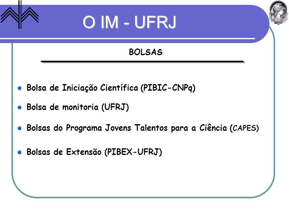 O IM - UFRJ BOLSAS Bolsa de Iniciação Científica (PIBIC-CNPq)