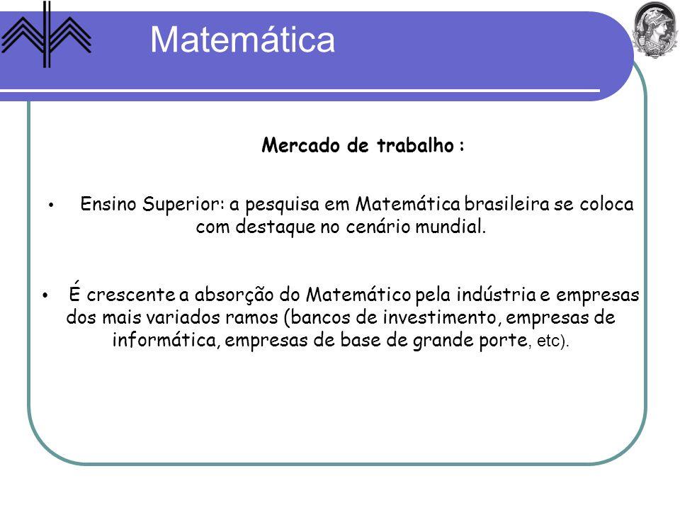Matemática Mercado de trabalho :
