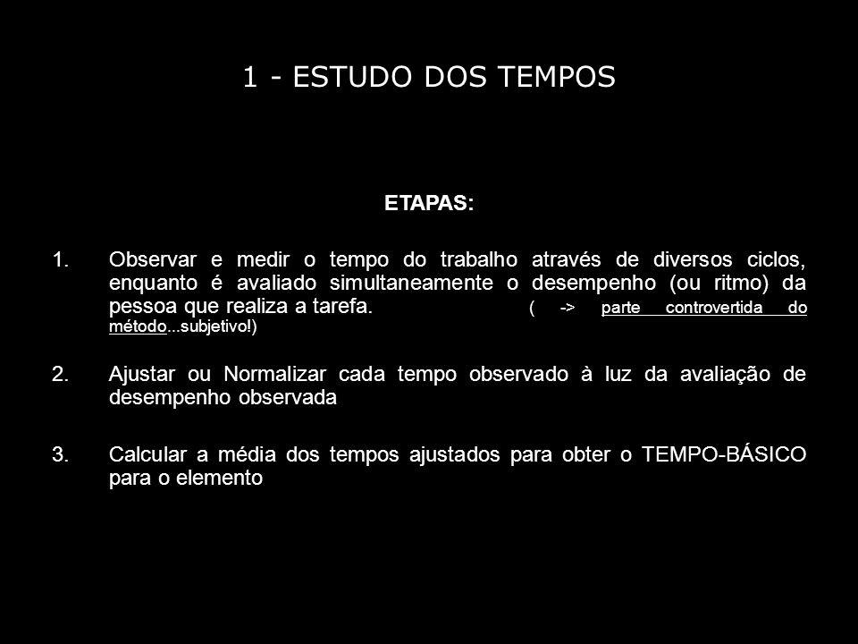 1 - ESTUDO DOS TEMPOS ETAPAS: