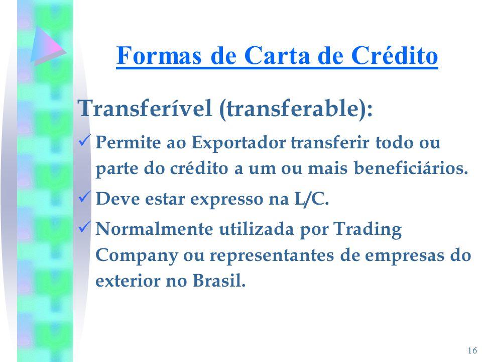 Formas de Carta de Crédito