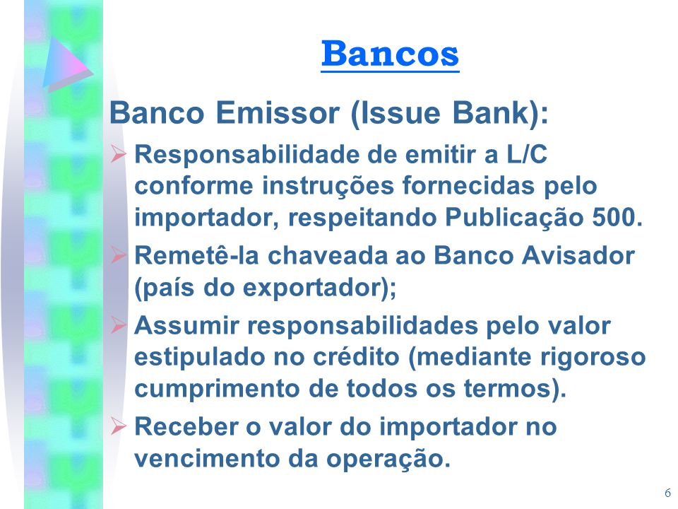 Bancos Banco Emissor (Issue Bank):