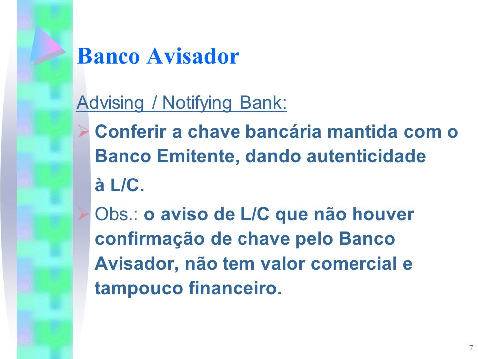 Banco Avisador Advising / Notifying Bank: