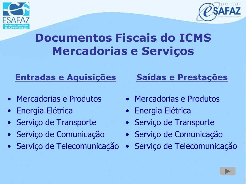 Documentos Fiscais do ICMS Mercadorias e Serviços