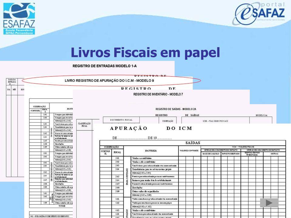 Livros Fiscais em papel