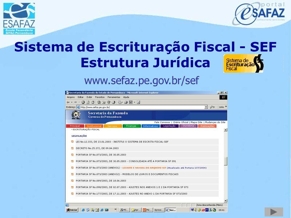 Sistema de Escrituração Fiscal - SEF Estrutura Jurídica