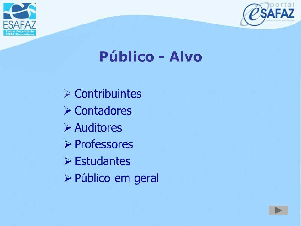 Público - Alvo Contribuintes Contadores Auditores Professores