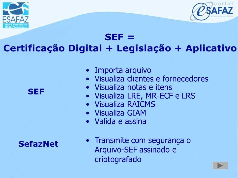 SEF = Certificação Digital + Legislação + Aplicativo