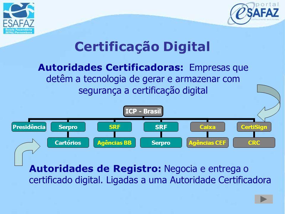 Certificação Digital Autoridades Certificadoras: Empresas que detêm a tecnologia de gerar e armazenar com segurança a certificação digital.
