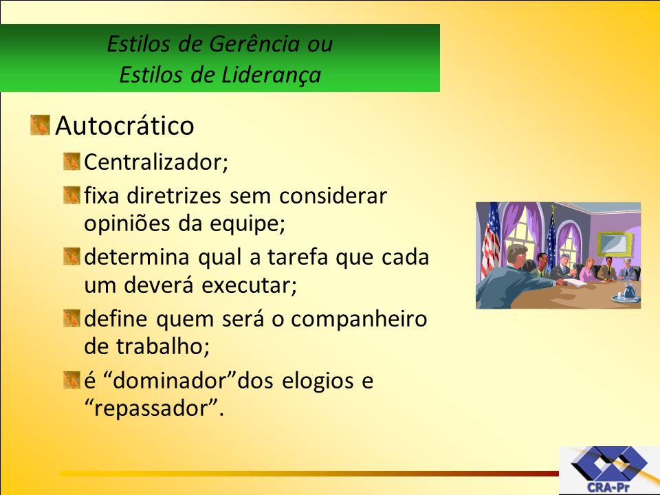 Autocrático Estilos de Gerência ou Estilos de Liderança Centralizador;