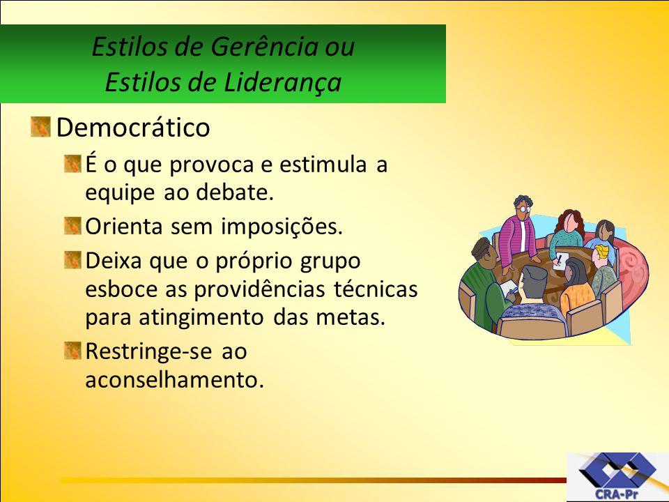 Estilos de Gerência ou Estilos de Liderança Democrático