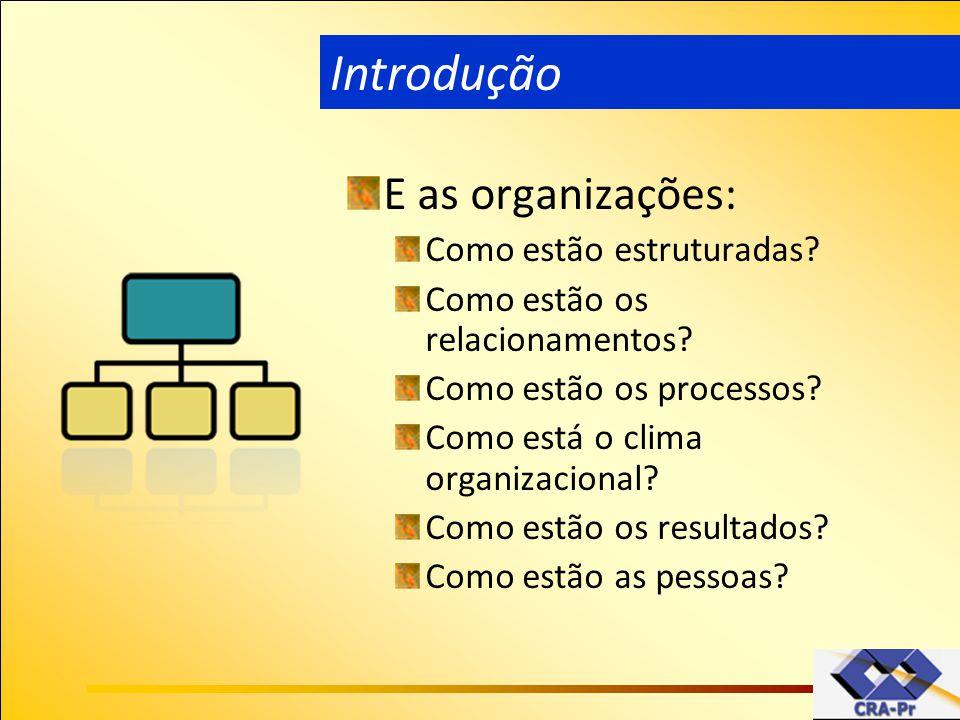 Introdução E as organizações: Como estão estruturadas
