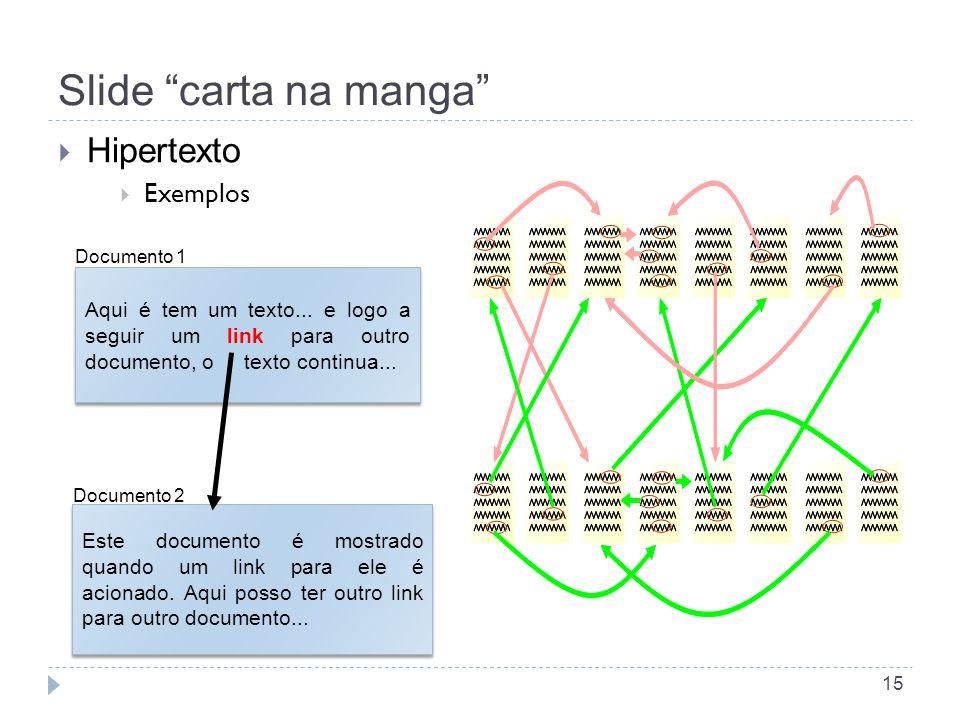 Slide carta na manga Hipertexto Exemplos