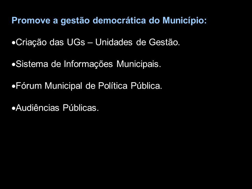 Promove a gestão democrática do Município: