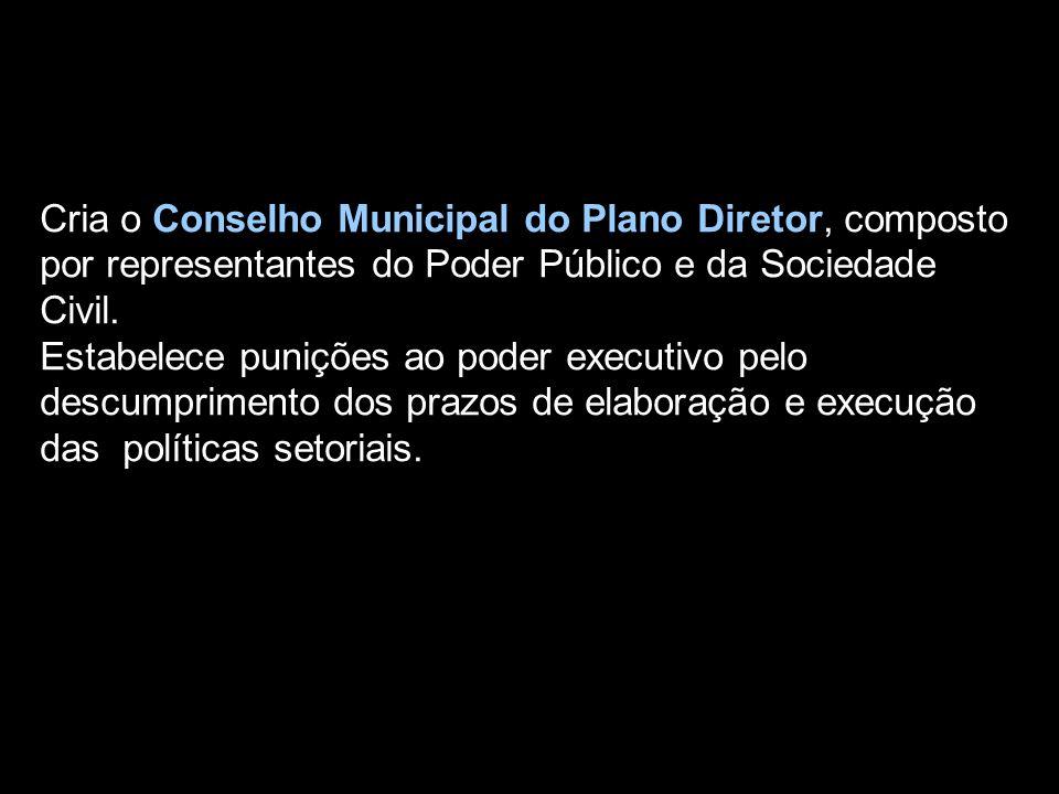 Cria o Conselho Municipal do Plano Diretor, composto por representantes do Poder Público e da Sociedade Civil.