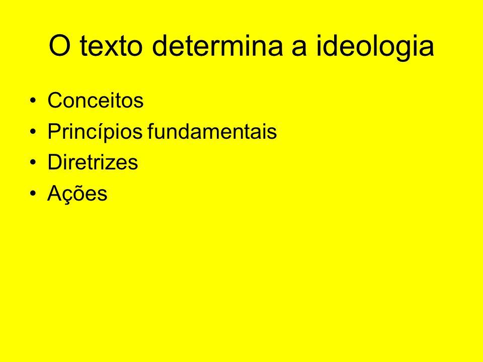 O texto determina a ideologia