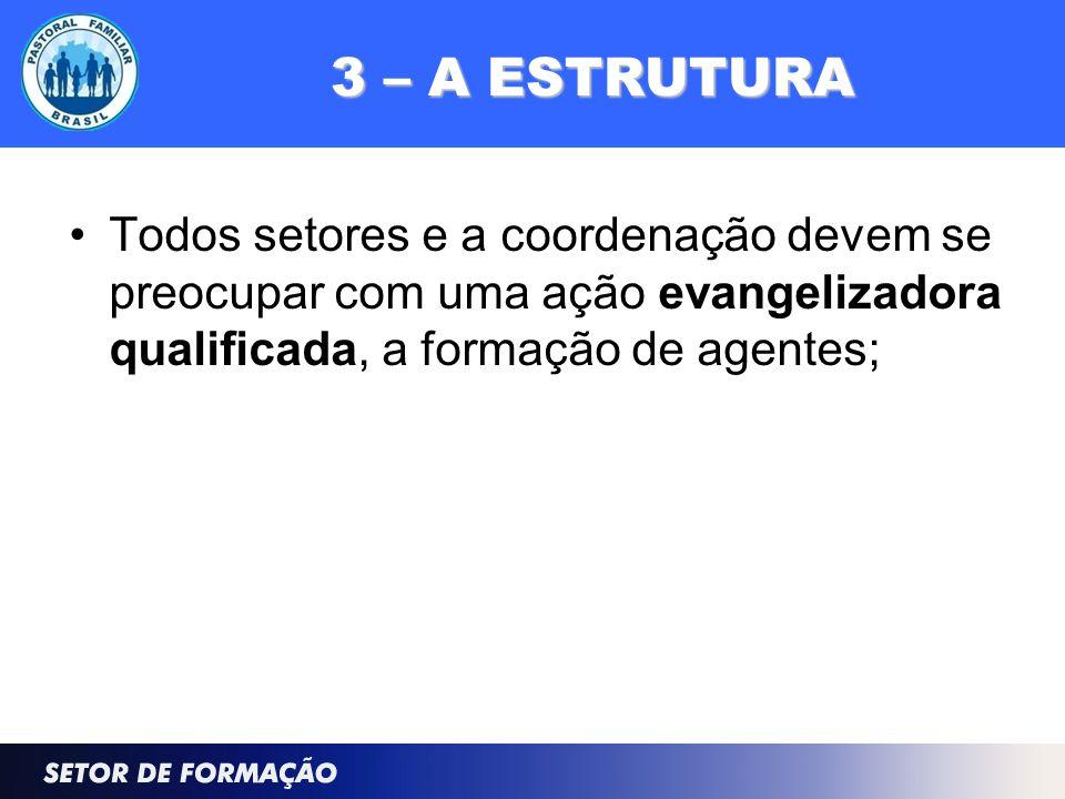 3 – A ESTRUTURA Todos setores e a coordenação devem se preocupar com uma ação evangelizadora qualificada, a formação de agentes;