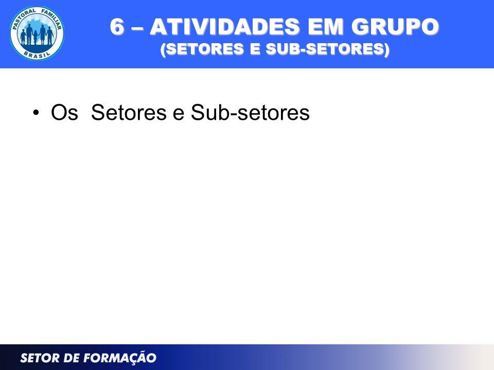 6 – ATIVIDADES EM GRUPO (SETORES E SUB-SETORES)