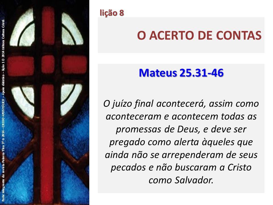 O acerto de contas Mateus 25.31-46