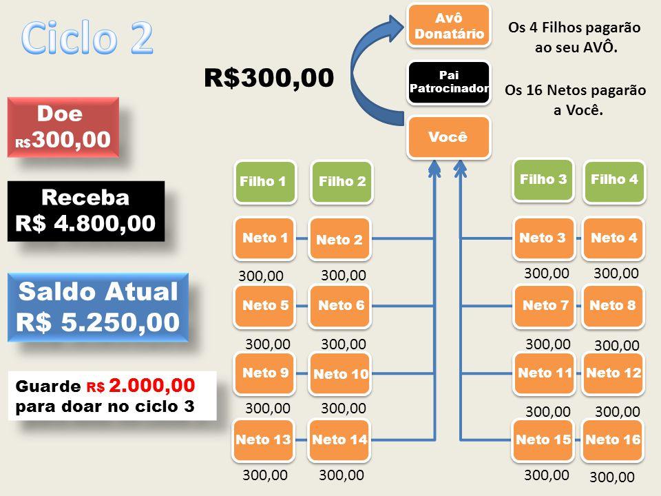 Ciclo 2 R$300,00 Saldo Atual R$ 5.250,00 Doe Receba R$ 4.800,00