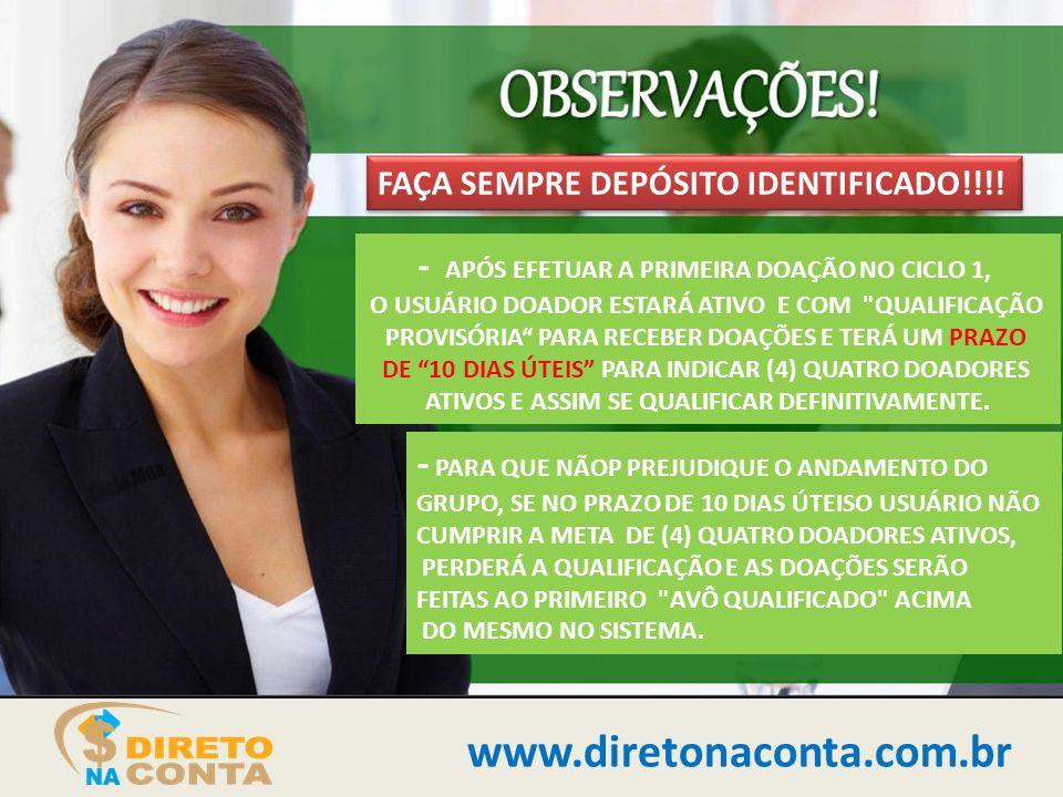 www.diretonaconta.com.br - APÓS EFETUAR A PRIMEIRA DOAÇÃO NO CICLO 1,