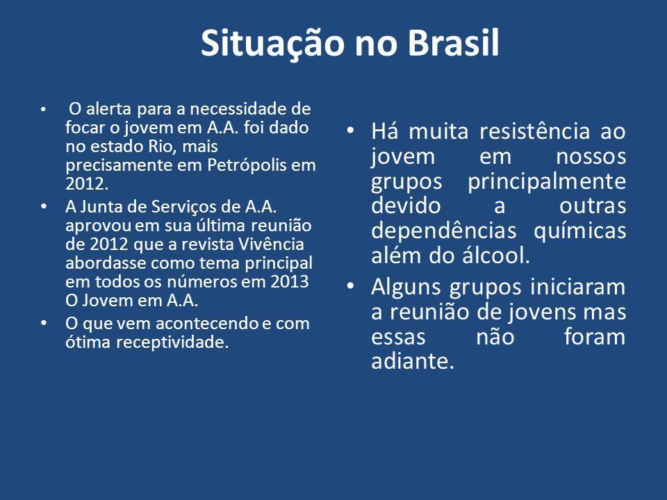Situação no Brasil O alerta para a necessidade de focar o jovem em A.A. foi dado no estado Rio, mais precisamente em Petrópolis em 2012.