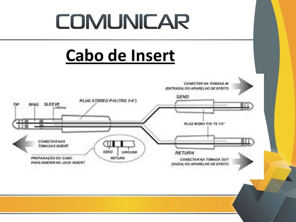 Cabo de Insert - Cabo coaxial na ligação de caixas de som acima de 3 metros pode apresentar ruídos.