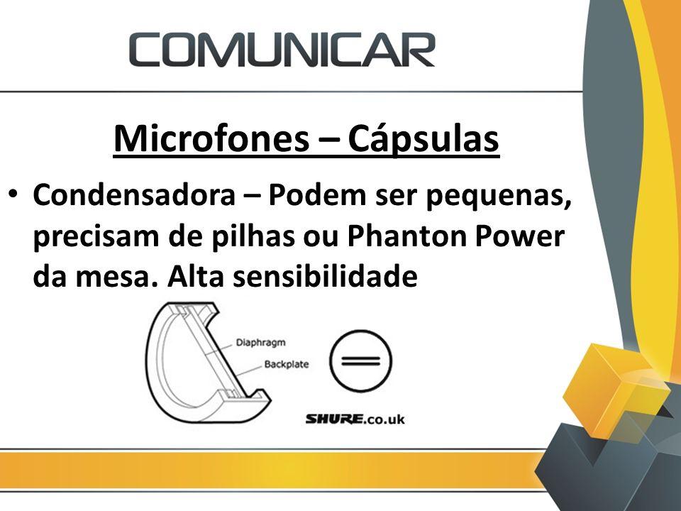Microfones – Cápsulas Condensadora – Podem ser pequenas, precisam de pilhas ou Phanton Power da mesa. Alta sensibilidade.