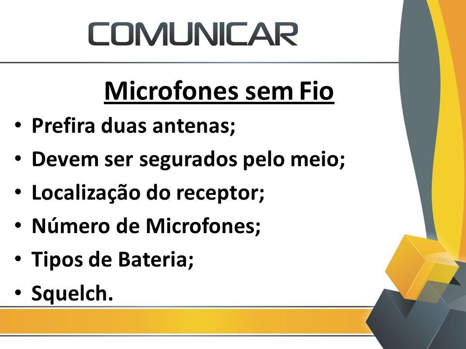 Microfones sem Fio Prefira duas antenas;