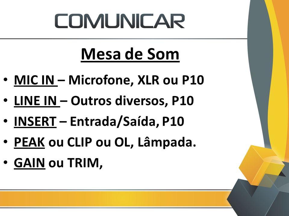 Mesa de Som MIC IN – Microfone, XLR ou P10
