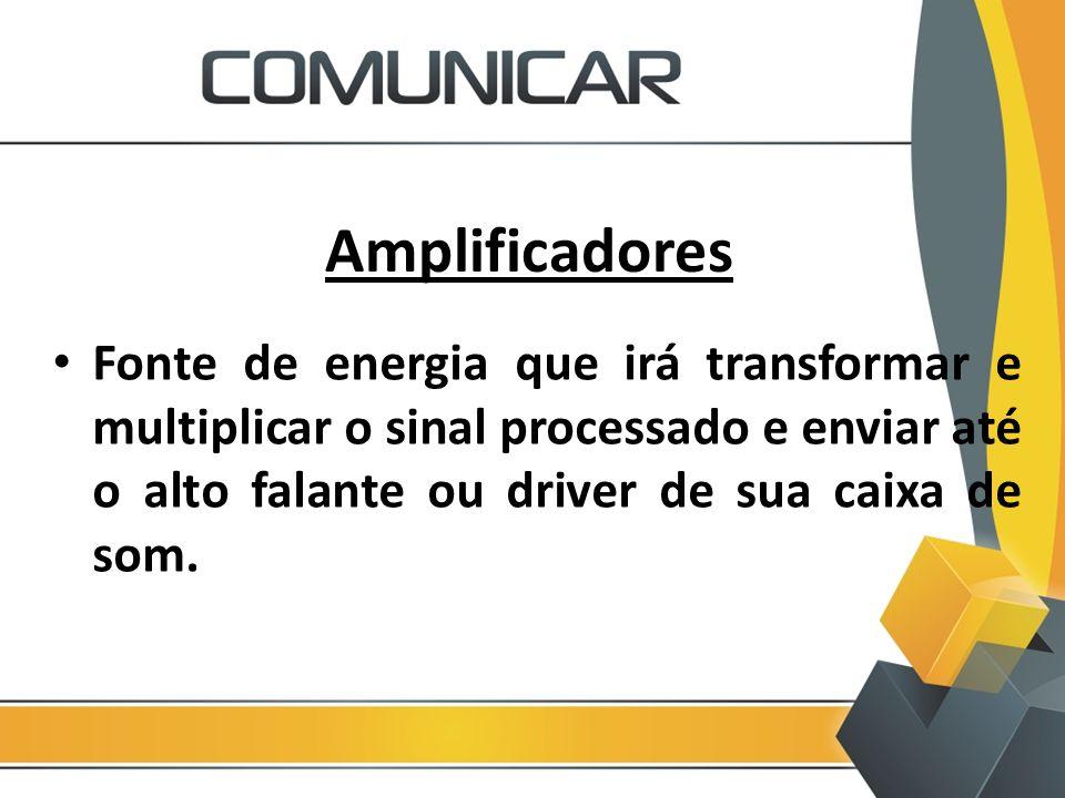 Amplificadores Fonte de energia que irá transformar e multiplicar o sinal processado e enviar até o alto falante ou driver de sua caixa de som.
