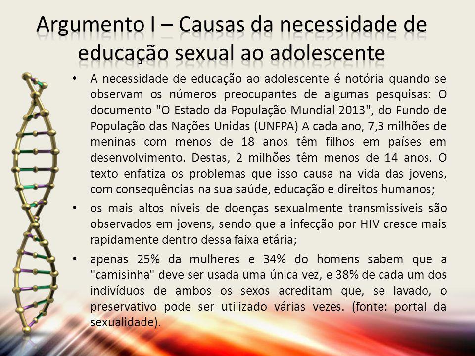 Argumento I – Causas da necessidade de educação sexual ao adolescente