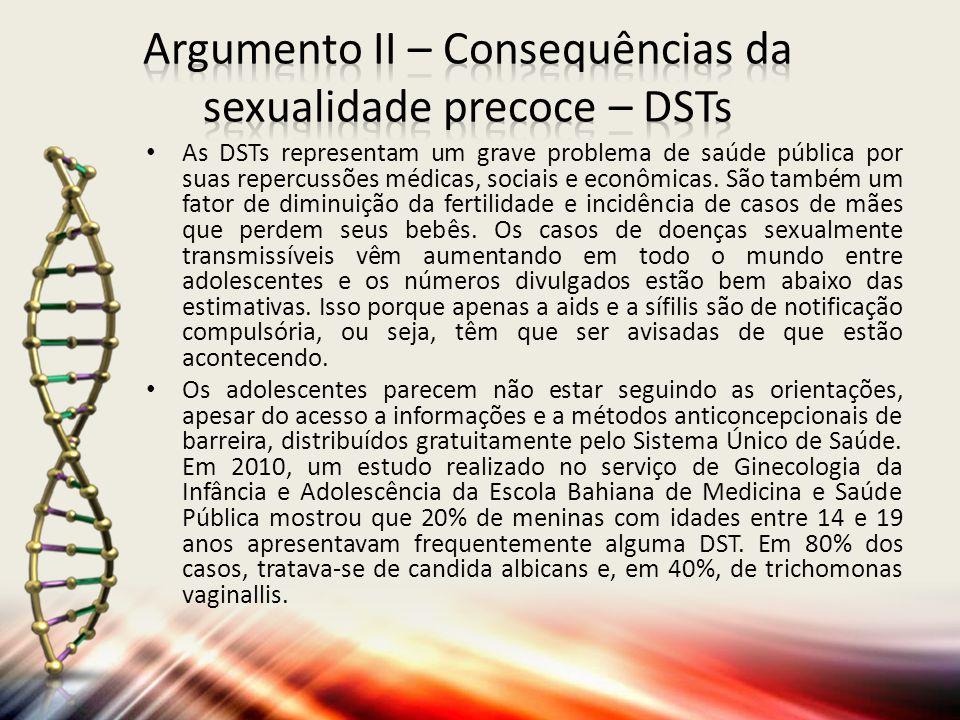 Argumento II – Consequências da sexualidade precoce – DSTs