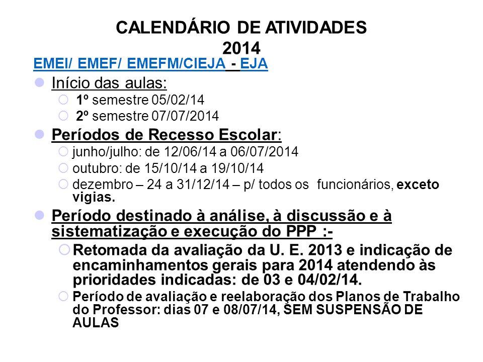CALENDÁRIO DE ATIVIDADES 2014