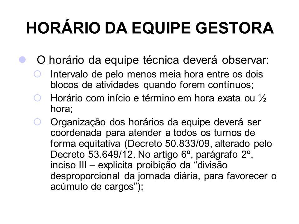 HORÁRIO DA EQUIPE GESTORA