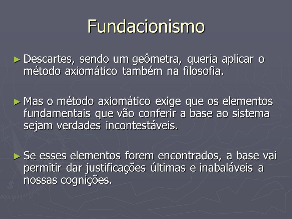 Fundacionismo Descartes, sendo um geômetra, queria aplicar o método axiomático também na filosofia.
