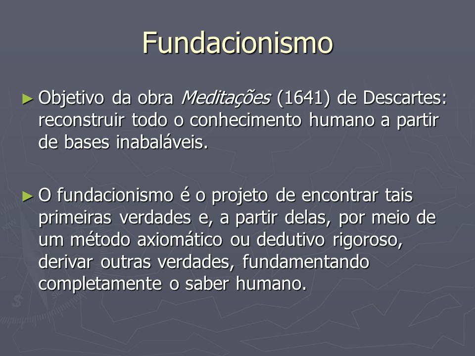 Fundacionismo Objetivo da obra Meditações (1641) de Descartes: reconstruir todo o conhecimento humano a partir de bases inabaláveis.
