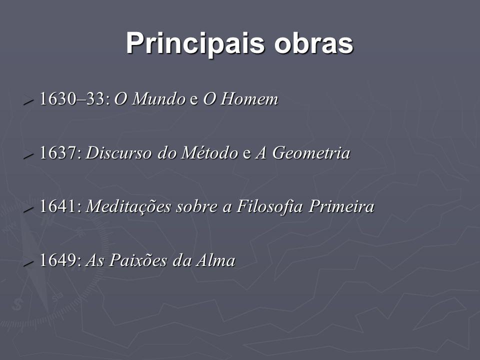 Principais obras 1630–33: O Mundo e O Homem
