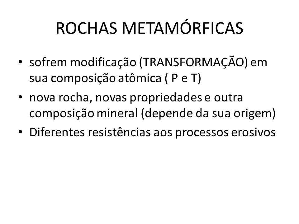 ROCHAS METAMÓRFICAS sofrem modificação (TRANSFORMAÇÃO) em sua composição atômica ( P e T)