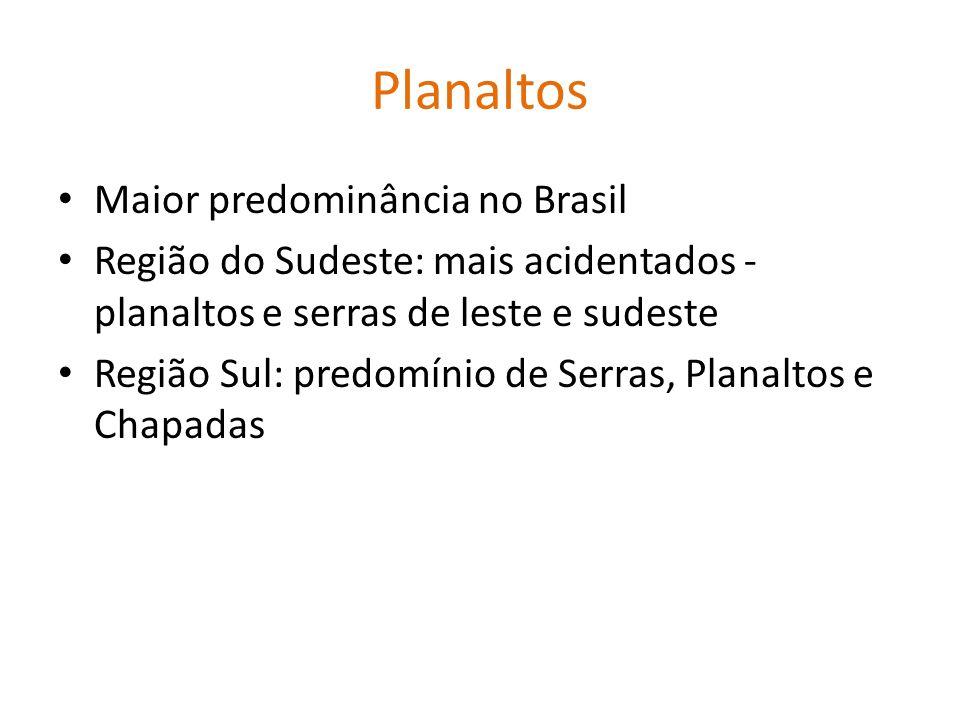 Planaltos Maior predominância no Brasil