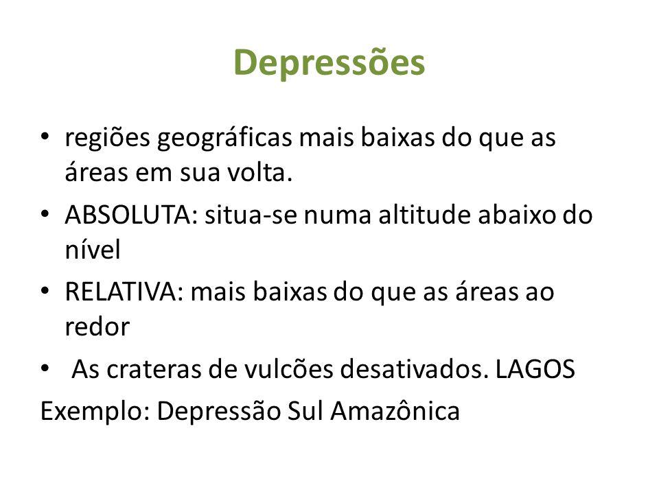 Depressões regiões geográficas mais baixas do que as áreas em sua volta. ABSOLUTA: situa-se numa altitude abaixo do nível.