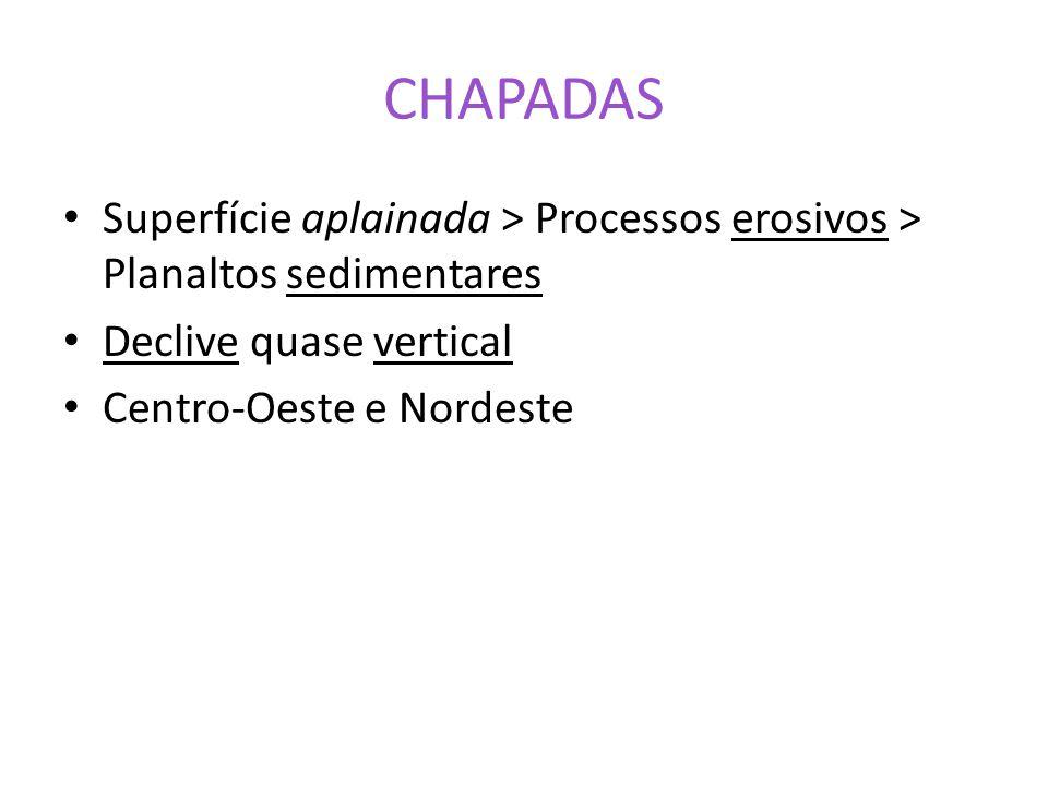CHAPADAS Superfície aplainada > Processos erosivos > Planaltos sedimentares. Declive quase vertical.