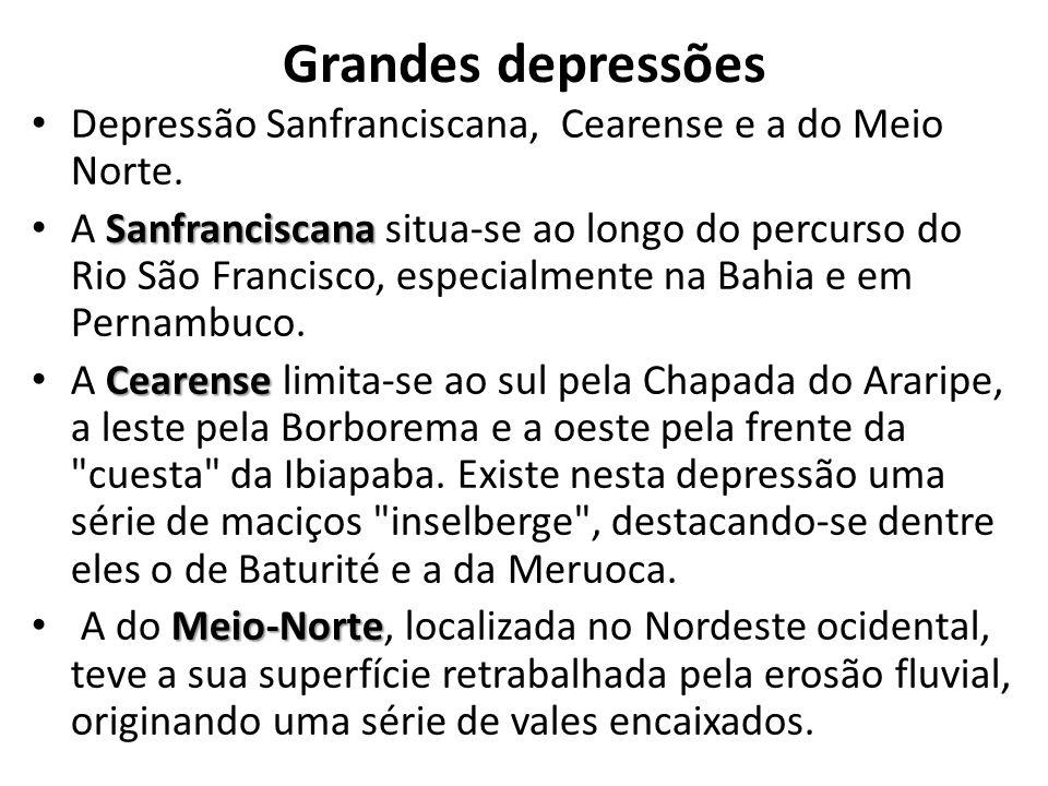 Grandes depressões Depressão Sanfranciscana, Cearense e a do Meio Norte.