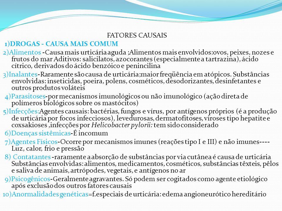 FATORES CAUSAIS 1)DROGAS - CAUSA MAIS COMUM 2)Alimentos -Causa mais urticária aguda ;Alimentos mais envolvidos:ovos, peixes, nozes e frutos do mar Aditivos: salicilatos, azocorantes (especialmente a tartrazina), ácido cítrico, derivados do ácido benzóico e penincilina 3)Inalantes-Raramente são causa de urticária;maior freqüência em atópicos.