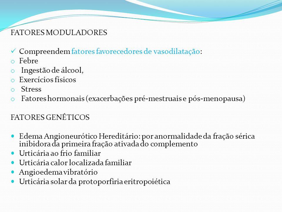 FATORES MODULADORES Compreendem fatores favorecedores de vasodilatação: Febre. Ingestão de álcool,