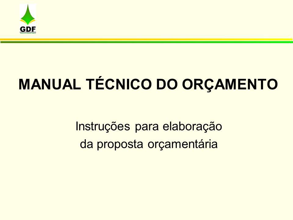 MANUAL TÉCNICO DO ORÇAMENTO
